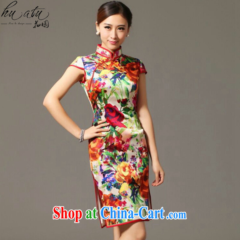 spend the summer new, heavy Silk Cheongsam improved retro elegance, DOS SANTOS for silk cheongsam dress shown in Figure 3XL