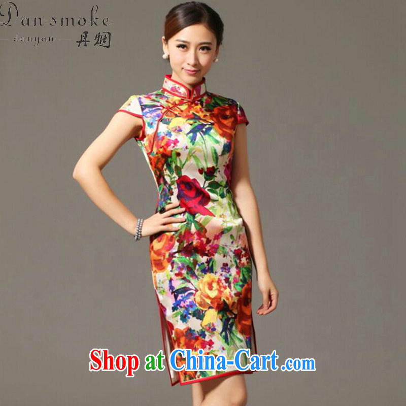 Bin Laden smoke summer new, heavy Silk Cheongsam improved retro elegance, sauna for silk cheongsam dress in figure 3XL