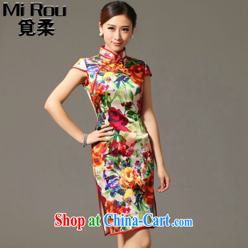 Find Sophie summer new, heavy Silk Cheongsam improved retro elegance, DOS SANTOS for silk cheongsam dress in figure 3XL