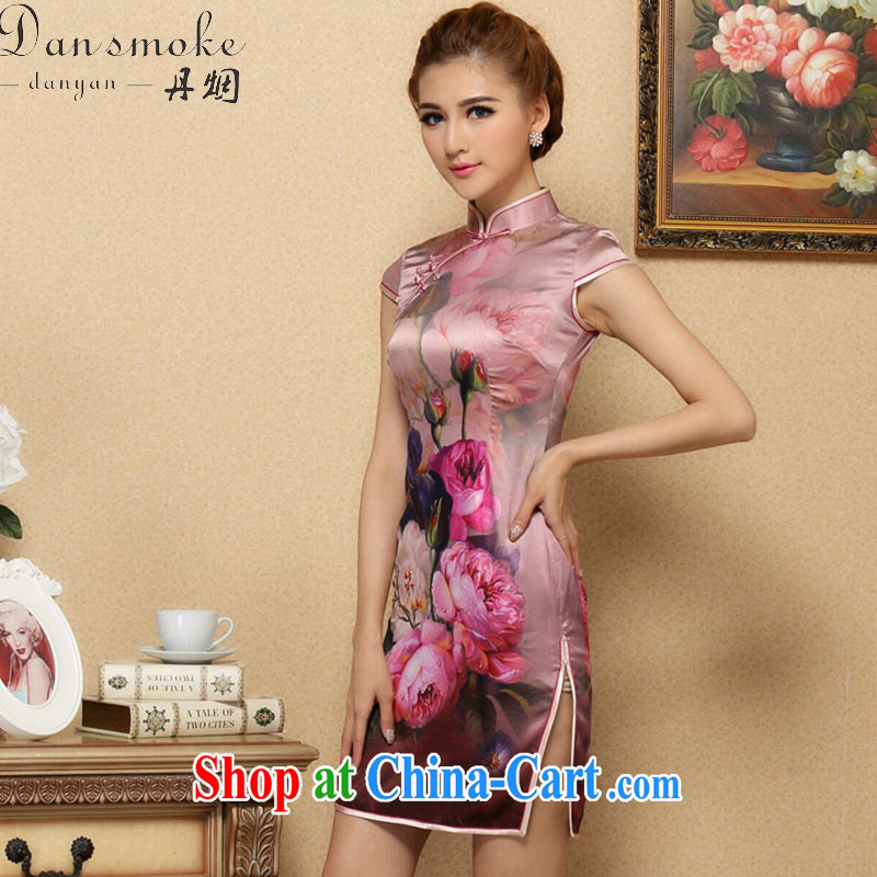 Bin Laden smoke, Ms. dos santos cheongsam Silk Cheongsam Chinese improved, for summer high-end cool and stylish Silk Cheongsam short figure color 2 XL