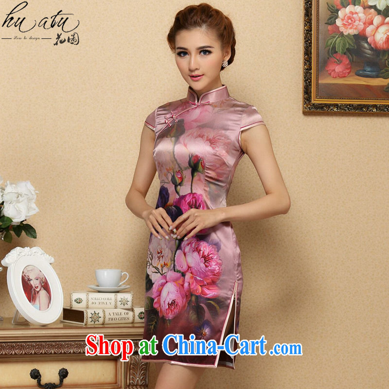 Take the MS DOS SANTOS cheongsam Silk Cheongsam Chinese improved, for summer high-end cool and stylish Silk Cheongsam short as the color 2 XL