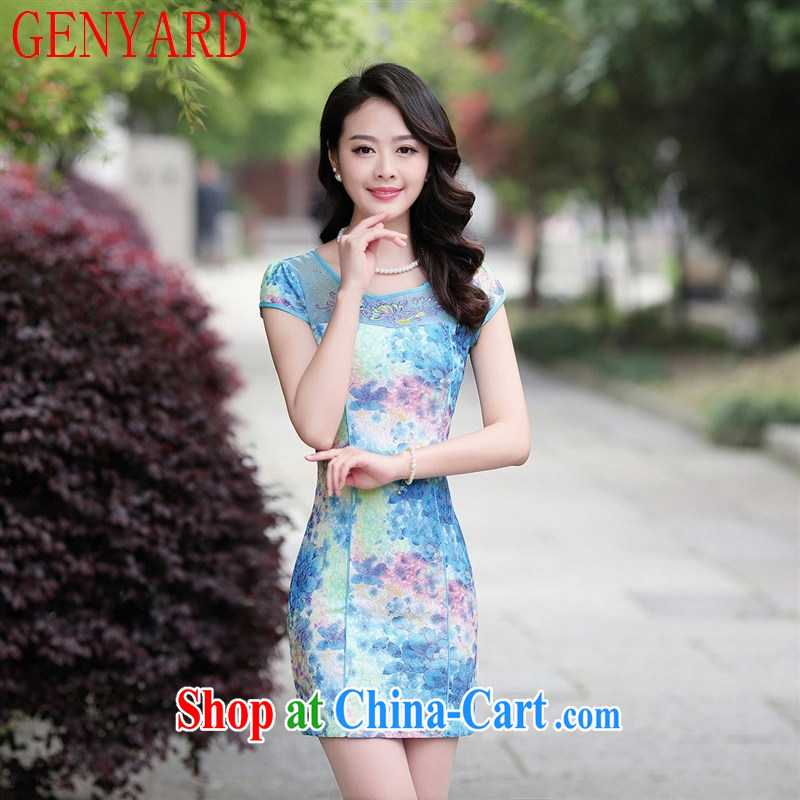 Deloitte Touche Tohmatsu fine beauty store video thin short-sleeved dresses 2015 new female YYS 15,028 ethnic dresses blue rose XXL