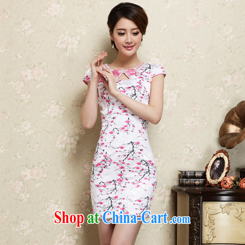 Yun-hsuan, summer 2015 ladies new ethnic wind Chinese stamp graphics thin short-sleeved qipao dresses of red XXL