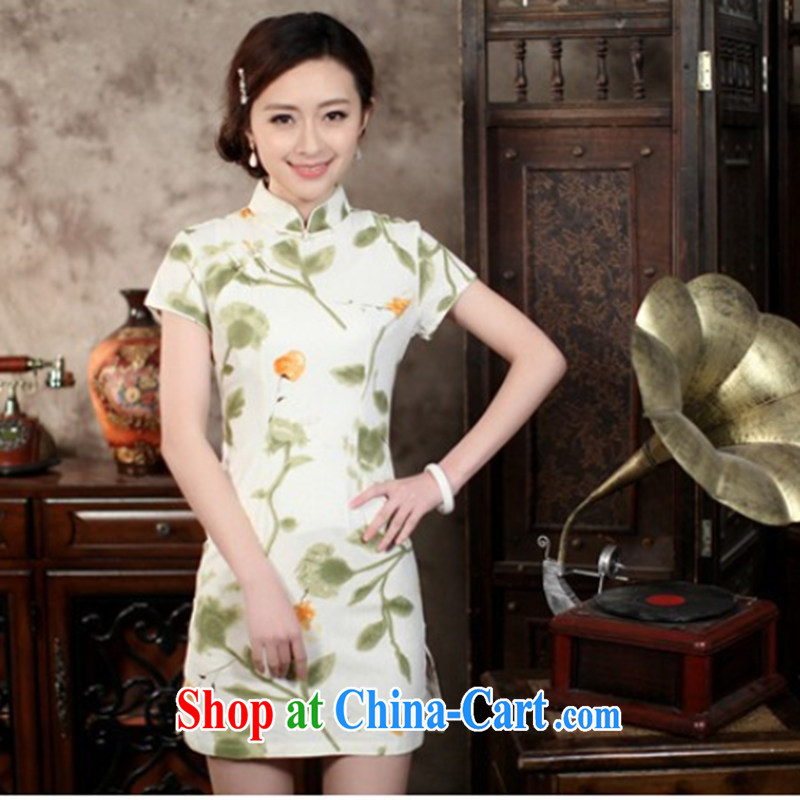 Bin Laden smoke summer new, antique Chinese wind Chinese improved the collar linen cheongsam dress cotton Ma short cheongsam as color 2XL