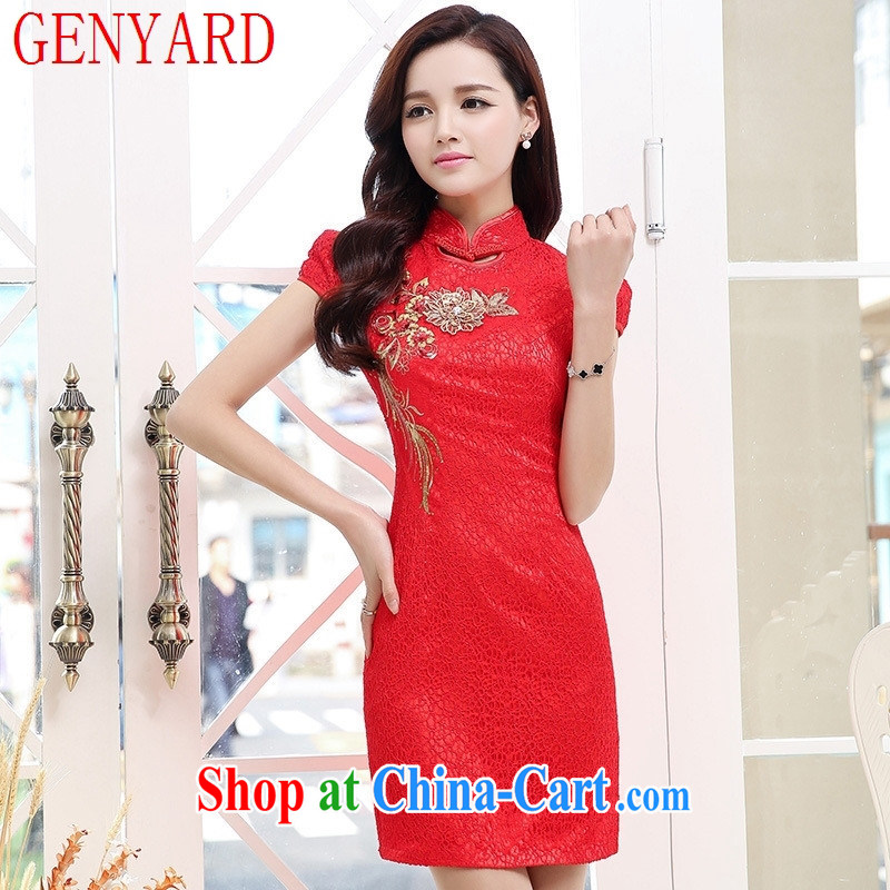 Deloitte Touche Tohmatsu fine beauty store video thin short-sleeved dresses 2015 new female ethnic wind the red cheongsam red XXL