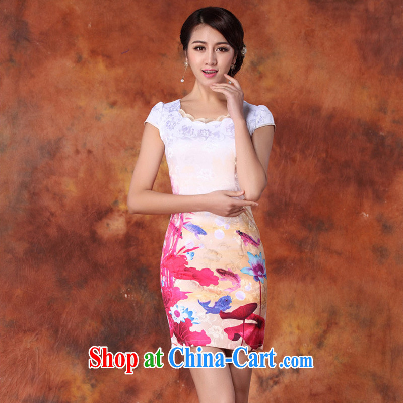 Yun-hsuan, summer 2015 women's clothing new Ethnic Wind Chinese stamp graphics thin short-sleeved package and cheongsam dress red XXL