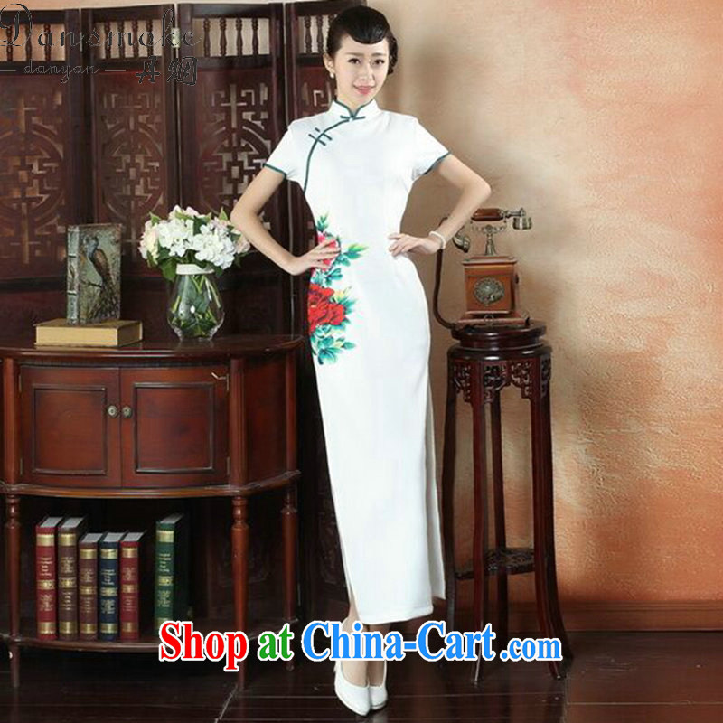 Dan smoke-free summer, National wind dress cheongsam dress stylish improved Chinese, for hand-painted antique long cheongsam dress such as the color 2 XL