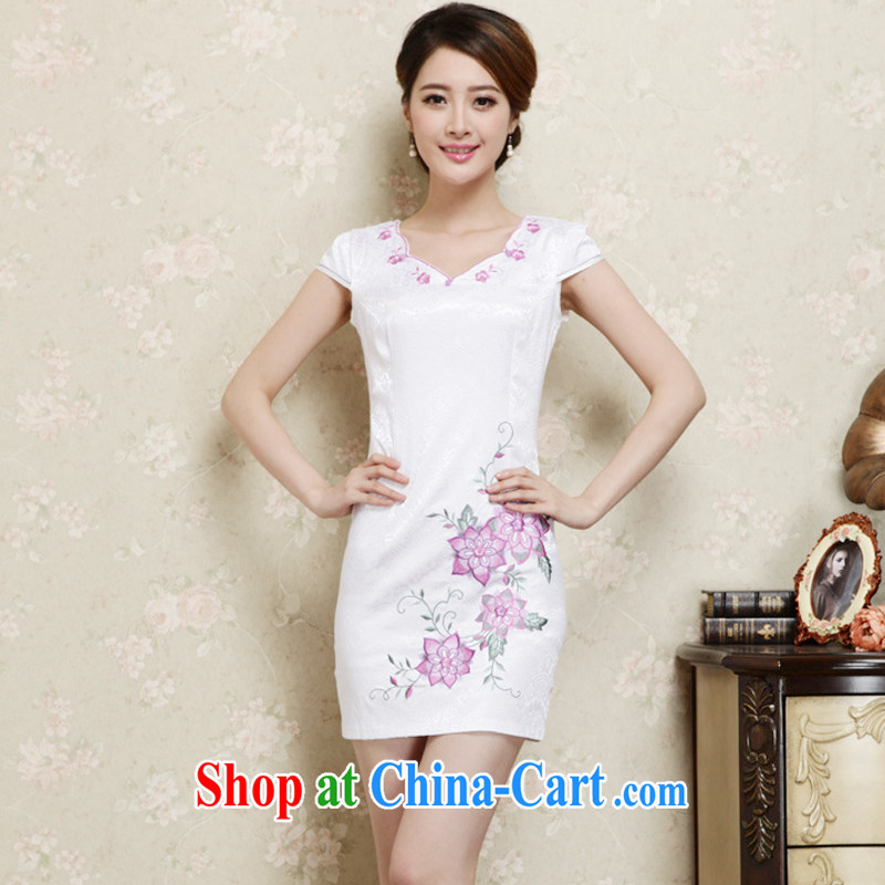 Yun-hsuan, summer 2015 ladies new ethnic wind Chinese stamp short sleeve cheongsam dress purple XXL