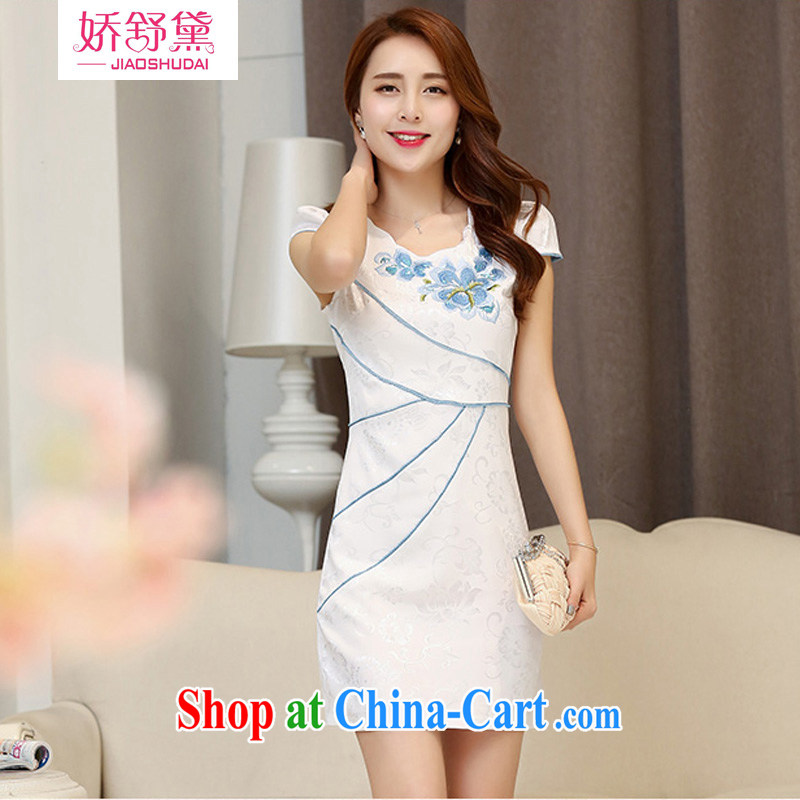 Air Shu Diane summer 2015 new Chinese Antique collection beauty waist elegant qipao boutique women white blue M