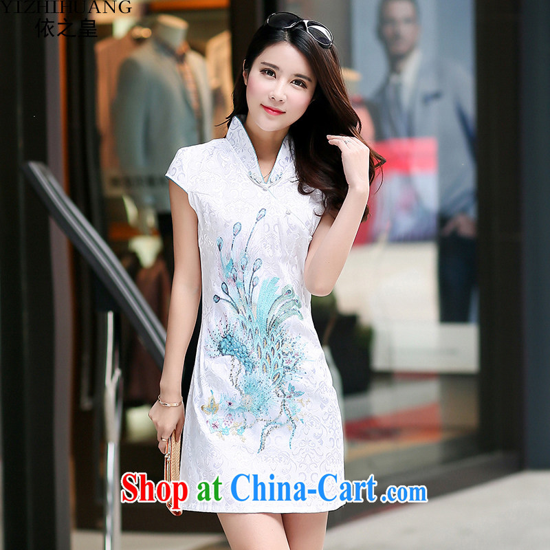 According to the king's 2015 summer embroidery cheongsam stylish improved short-sleeved painting cheongsam dress children blue-and-white XXL