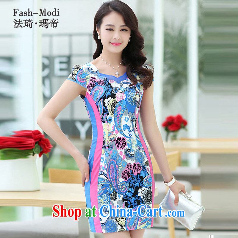 The ki Princess Royal 2015 summer women's clothing new ethnic wind Chinese stamp retro beauty style graphics thin short-sleeved package and cheongsam dress light blue XXL