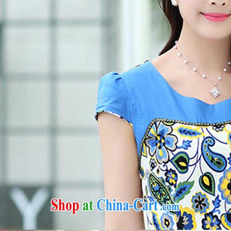 The ki Princess Royal 2015 summer women's clothing new ethnic wind Chinese stamp retro beauty style graphics thin short-sleeved package and cheongsam dress 07 green XXL, Qi, in Dili and Manasseh (Fash - Modi), shopping on the Internet