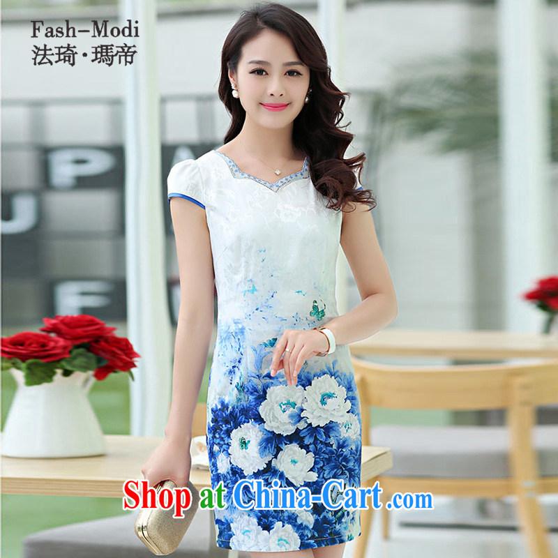 The ki Princess Royal 2015 summer women's clothing new ethnic wind Chinese stamp retro beauty style graphics thin short-sleeved package and cheongsam dress 05 blue XXL
