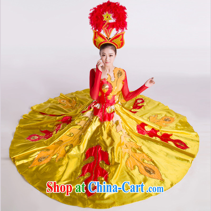 2015 new opening dance swing skirt modern dance costumes women gold M