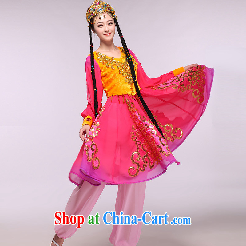 The better the red Xinjiang 2015 as soon as possible new Xinjiang Dance skirt ethnic characteristics costumes show package of red XXXL