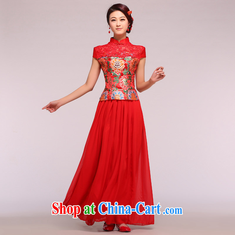 Chinese water-soluble lace damask jacquard snow woven skirt dress qipao toast Service Bridal replacing two-piece red XL
