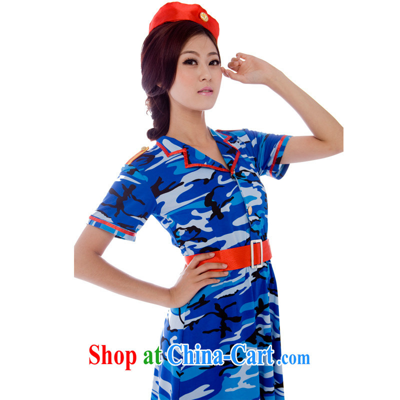 Uniform dance uniforms blue camouflage uniform female soldiers serving naval uniforms camouflage skirt stage blue L