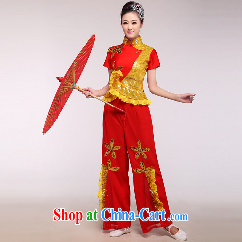 2015 NEW classic dance clothing new yangko clothing square dance Fan Dance image mountain red as the color of the