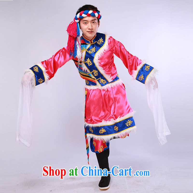 Tibetan dance clothing water cuff men new minority serving performances performances serving the red L