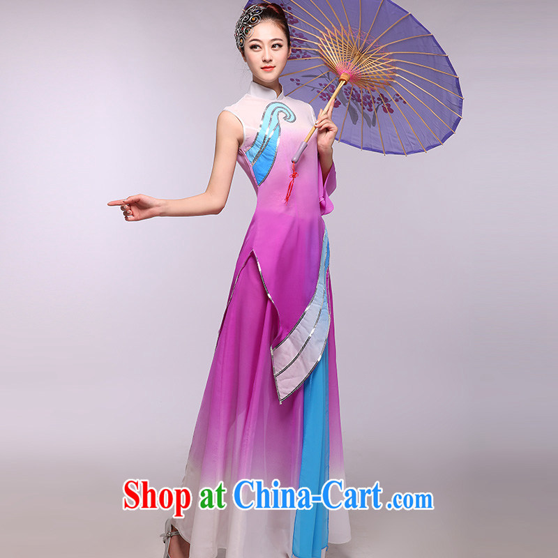 The rain in 2015 as soon as possible new violet gradient snow woven dance clothing classic national costumes purple XXXL