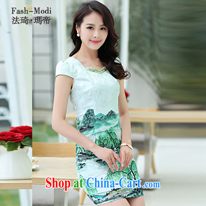 The ki Princess Royal 2015 summer women's clothing new ethnic wind Chinese stamp retro beauty charm graphics thin short-sleeved package and cheongsam dress 01 green XXL