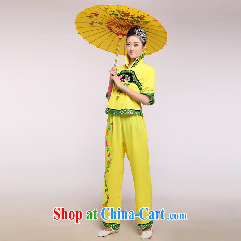 New yangko service square dance yellow dance clothing dance performances dress opening dancing clothing yellow large