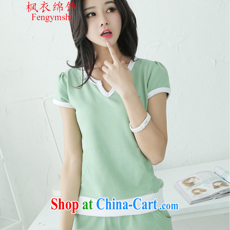 Feng Yi's cotton trim new streaks stitching short-sleeve T-shirt + stylish shorts Sports _ Leisure package Women 8105 N A 815 light green are code