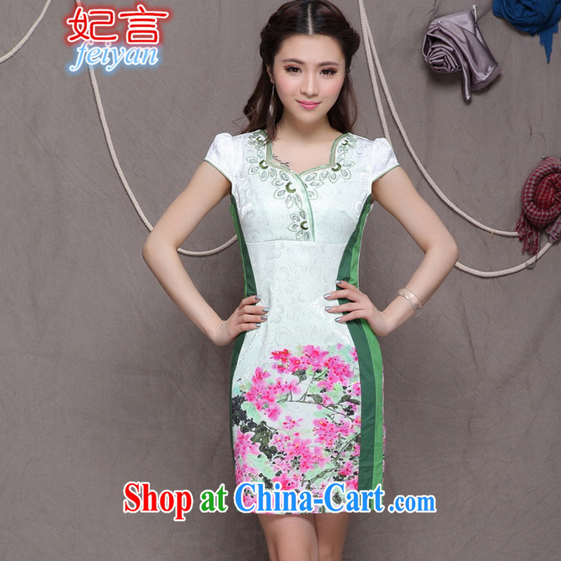 Statements were made by Princess 2015 embroidered cheongsam Ethnic Wind stylish Chinese qipao dress daily retro beauty dresses #9906 green XL