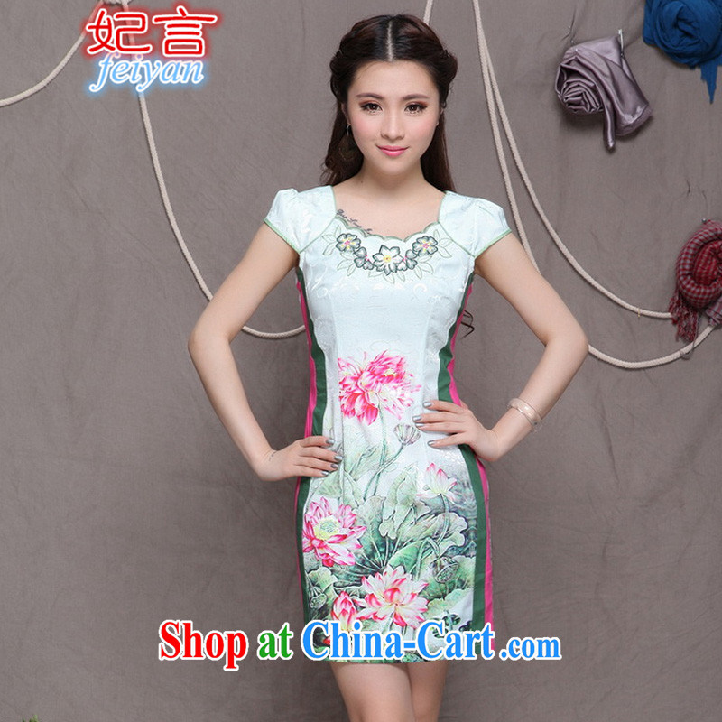Statements were made by Princess 2015 China wind stylish Ethnic Wind and refined improved cheongsam dress elegance #9909 photo color XL
