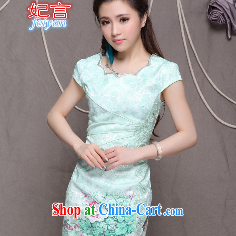 Statements were made by Princess summer 2015 New National wind stylish Chinese qipao dress retro beauty graphics thin dresses #9902 green XL