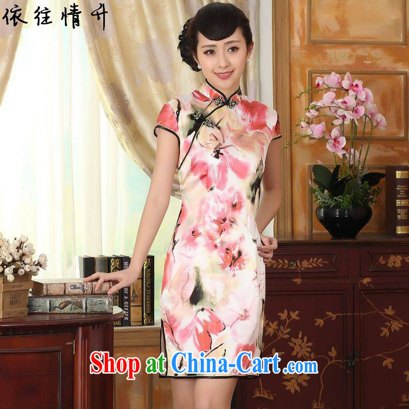 In accordance with the conditions and raise new, female retro improved tang on the collar is tight stamp duty cultivating short-sleeved Chinese cheongsam dress LGD_Z 0012 _picture color 2 XL