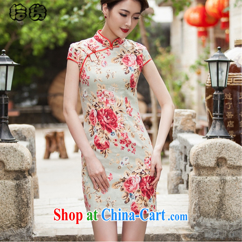 Pick up the 2015 summer classic and elegant silk cheongsam dress retro dress short daily improved dress beauty package and sporting aura ends without the forklift truck switched cheongsam XXL
