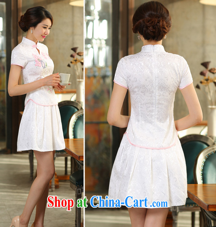 Pick up the 2015 summer stylish style dress short-sleeved pipa ends without the forklift truck cheongsam dress female Two-piece beauty graphics thin daily retro improved cheongsam Kit pink XL pictures, price, brand platters! Elections are good character, the national distribution, so why buy now enjoy more preferential! Health