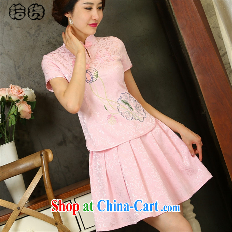 Pick up the 2015 summer stylish style dress short-sleeved pipa ends without the forklift truck cheongsam dress female Two-piece beauty graphics thin daily retro improved cheongsam Kit pink XL