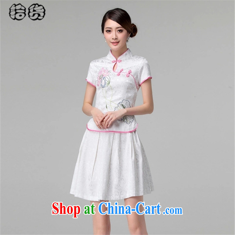 Pick up the 2015 summer stylish style dress short-sleeved pipa ends without the forklift truck cheongsam dress female Two-piece beauty graphics thin daily retro improved cheongsam Kit pink XL, pick-up (shihuo), online shopping