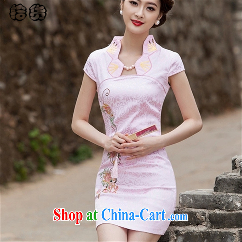 Pick up the 2015 summer, Elegance fancy embroidery cheongsam dress improved stylish beauty package and off-cut dresses, elegant day dresses girls dresses pink XXL