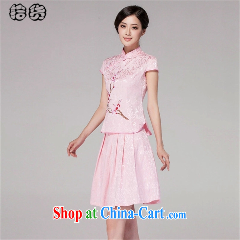 Pick up the 2015 summer aura, antique Chinese elegant fresh high-end Chinese daily embroidery cheongsam dress style casual dress without the forklift truck outfit Kit pink XXL