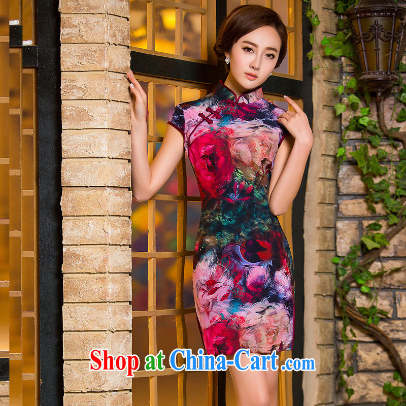 The cross-sectoral love Elizabeth 2015 Stylish retro Silk Cheongsam beauty dress short-sleeved improved cheongsam summer XL 2