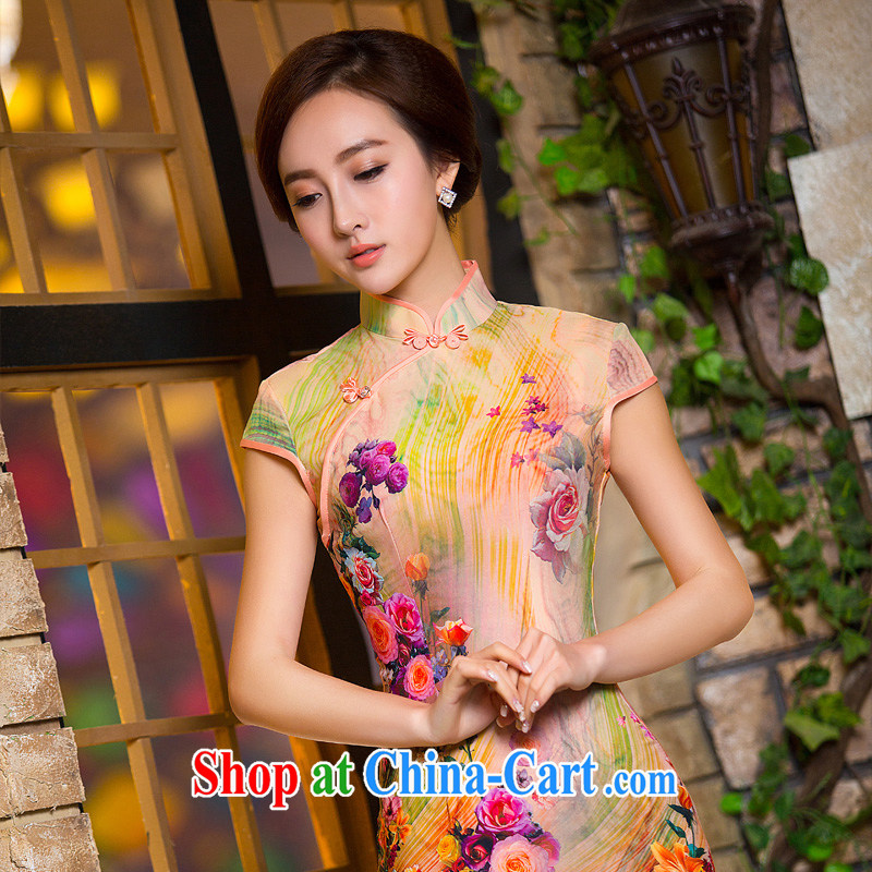 THE CROSS-SECTORAL COMPONENTS Elizabeth's first 2015 summer China wind elegant literary short daily improved cheongsam dress 2XL