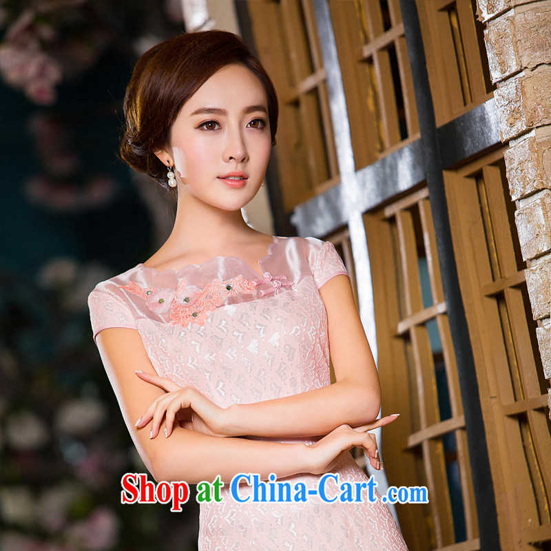 The Yee-sa-nga new lace Noble and elegant and stylish short cheongsam dress daily improved cheongsam summer M