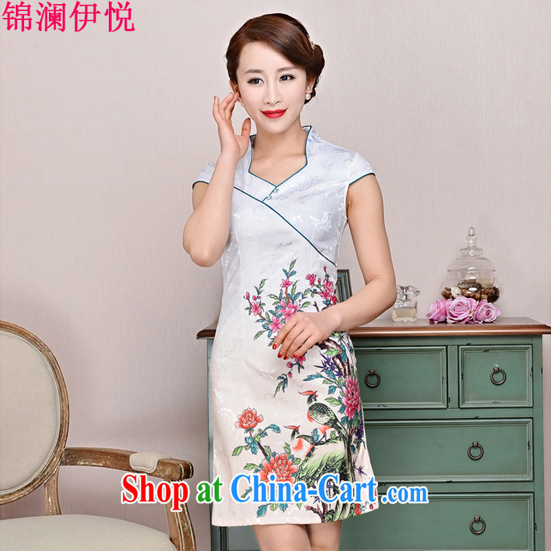 Kam-world the Hyatt 2015 new short daily improved cheongsam summer female ethnic wind cotton cultivating graphics thin short-sleeve and collar cheongsam dress white Peony two bird XXL