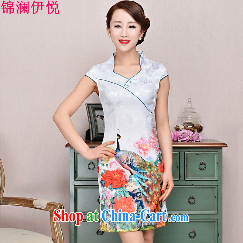 kam world the Hyatt 2015 new summer Korean women short-sleeve cultivating improved short cheongsam style cotton the stamp dresses mom with middle-aged White Peacock peony flowers XXL