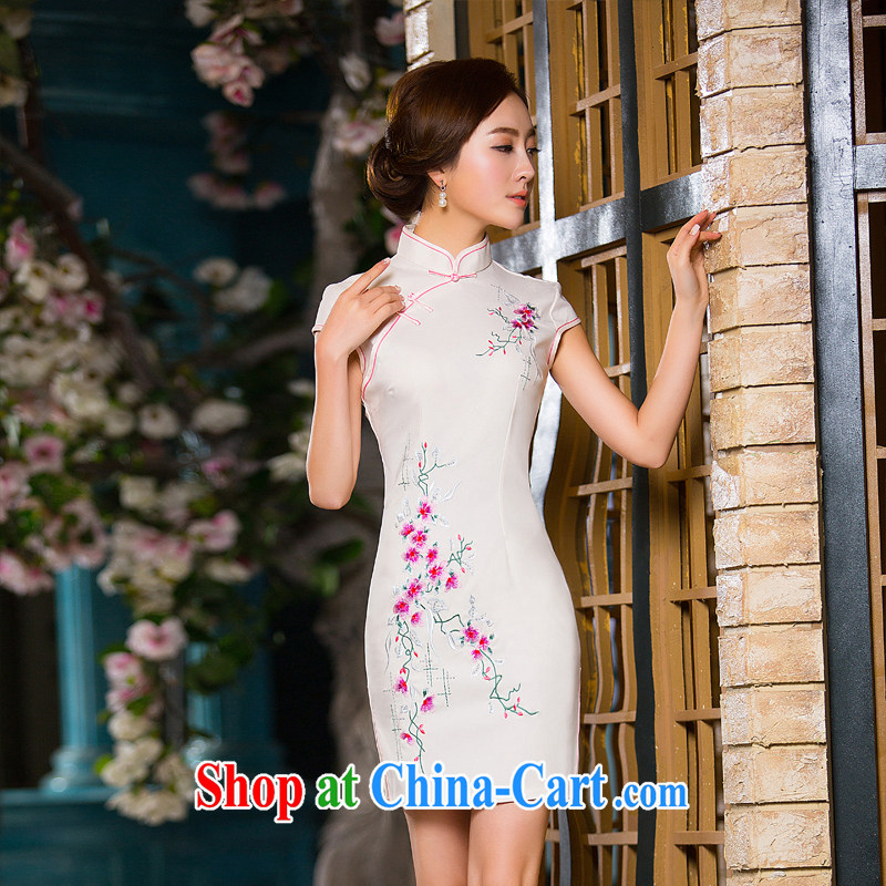 The cross-sectoral spent her complaint China wind antique silk embroidered cheongsam daily short improved cheongsam summer XL 2