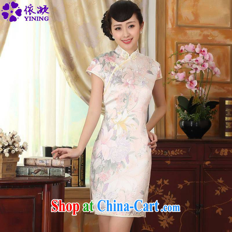 According to fuser new female retro improved Chinese Tang is a tight floral beauty short Chinese qipao dress LGD_Z _0014 figure 2 XL