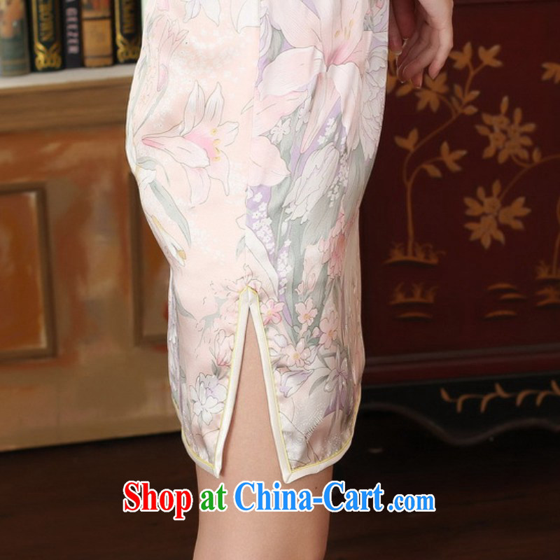 According to fuser new female retro improved Chinese Tang on a tight floral beauty short Chinese qipao dress LGD/Z #0014 figure 2 XL, fuser, and shopping on the Internet