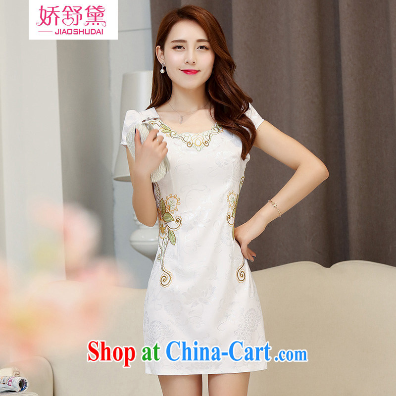 Air Shu Diane dresses summer 2015 short-sleeved retro beauty long cheongsam dress special small outfit use small summer dresses white XXL