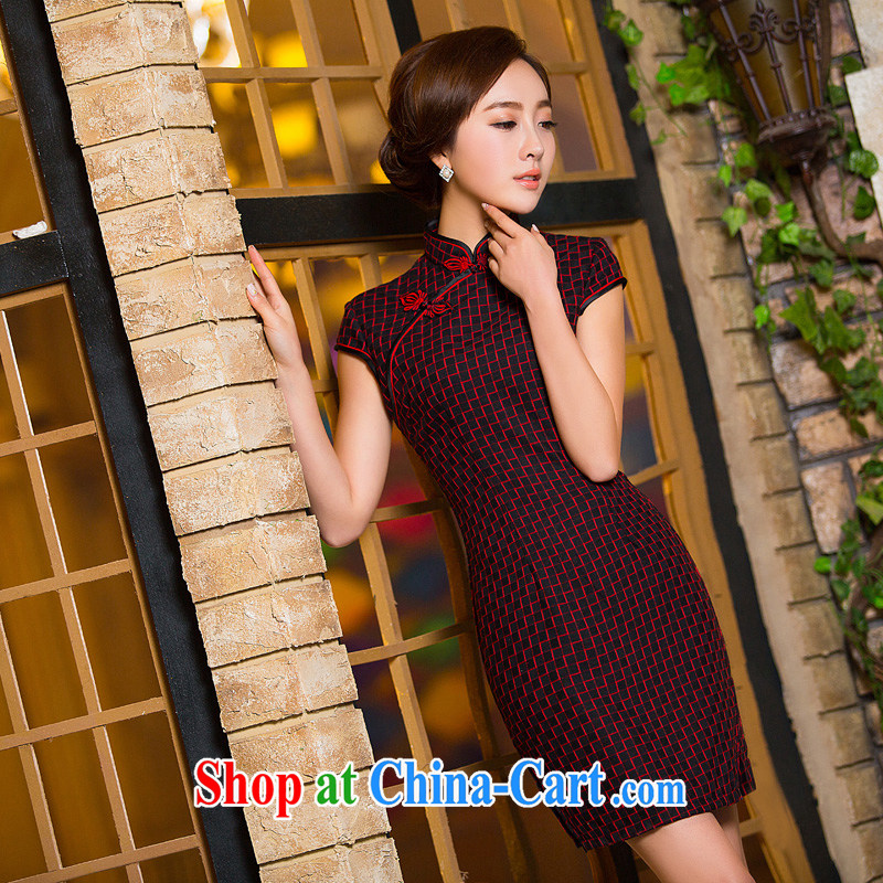 The cross-sectoral Windsor red ribbed retro checkered cultivating oneself short cheongsam dresses daily dress qipao improved 2 XL