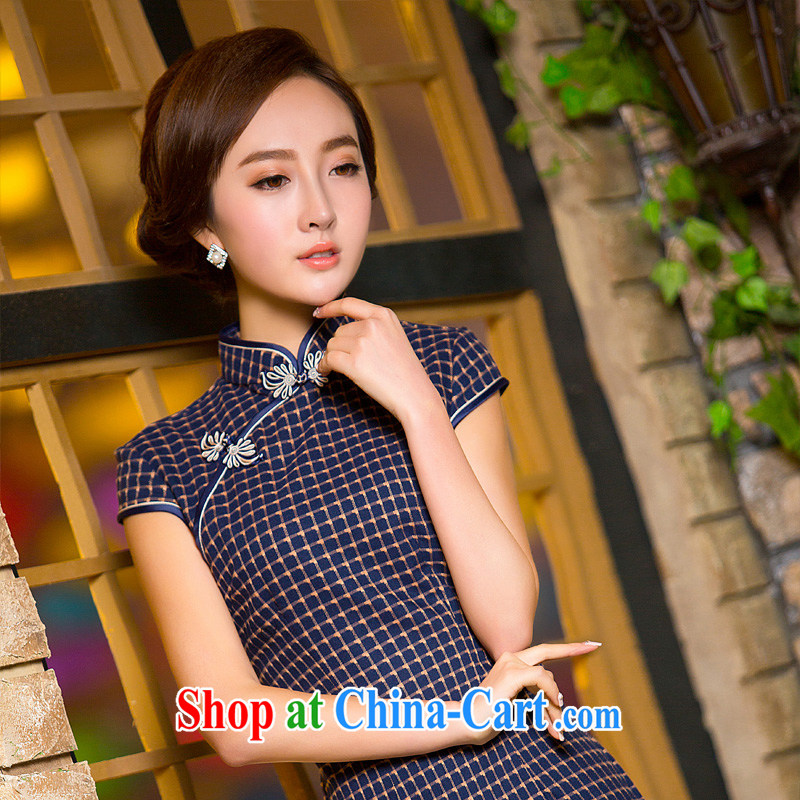 The cross-sectoral Mrs Elizabeth's former New National wind retro checkered cheongsam dress short improved cheongsam dress 2XL