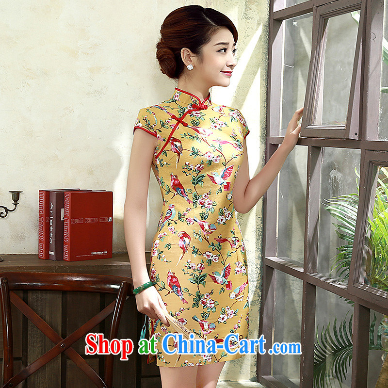 2015 new summer improved modern day Ms. qipao cotton Ma Sau San short-sleeved Cluster Q 1076 yellow XXL
