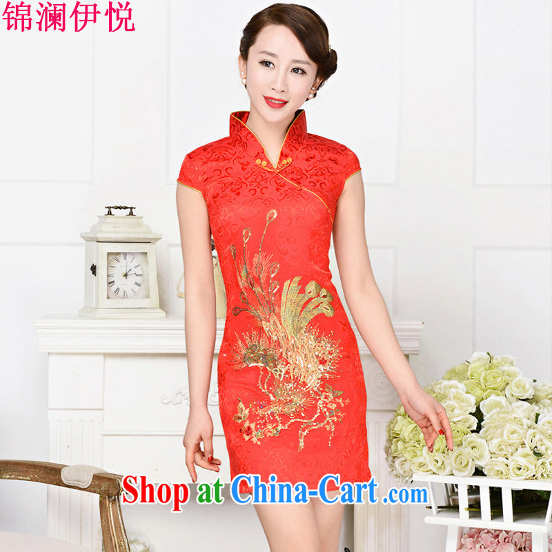 kam world the Hyatt 2015 New National wind cheongsam embroidered beauty, Phoenix short skirts improved stylish everyday dresses bridal toast clothing red phoenix spend XXL